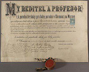 Diplom porodní babičky Františky Kyzevetrové, Olomouc, 1891.