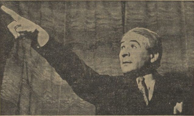 Eugen Normand as Sasha Bystry in Vasilii Shkvarkin's Lyre for Hire. Prague, Umelecka beseda, February 27, 1935 (Narodni listy February 27, 1935, 5).